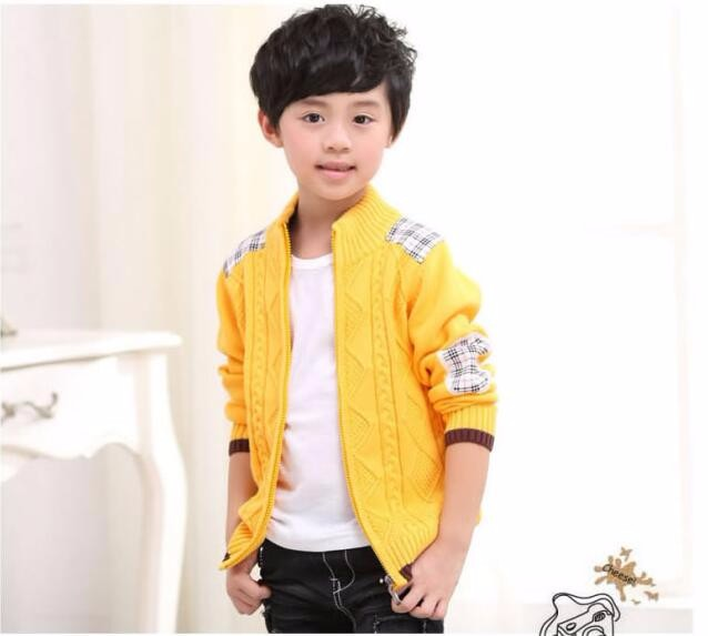 2016 autumn winter children's clothes boys sweaters causal stand collar cotton boy knitted cardigan sweaters for boys big kids