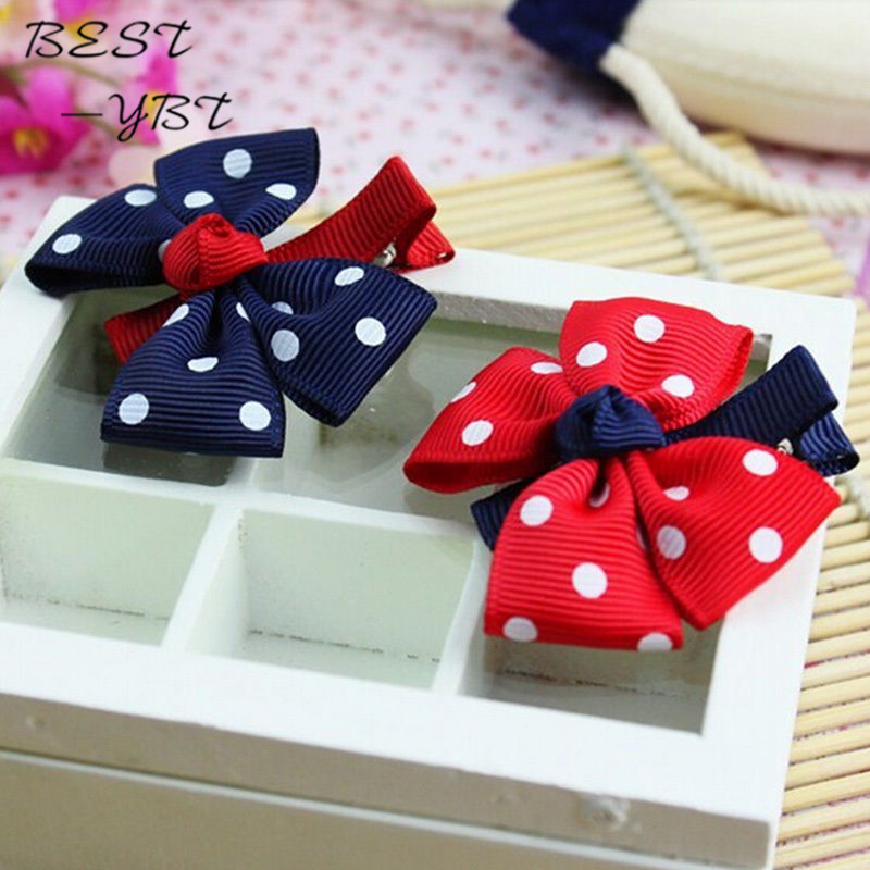 Drop Shipping Big Bow Dot Children Kids Baby Girls Hair Accessories Clip Hairpins Barrettes Headwear Flower Retail Wholesale(China (Mainland))