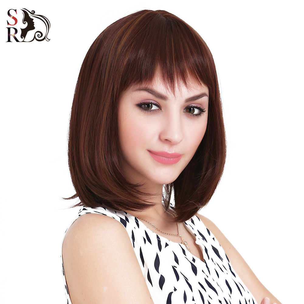 1Pcs/Lot Free Gift Cap Natural Sexy Hair Wig BOBO Head Style Straight Bang Synthetic Short Wigs Heat Resistant Women Ladies Gift<br><br>Aliexpress