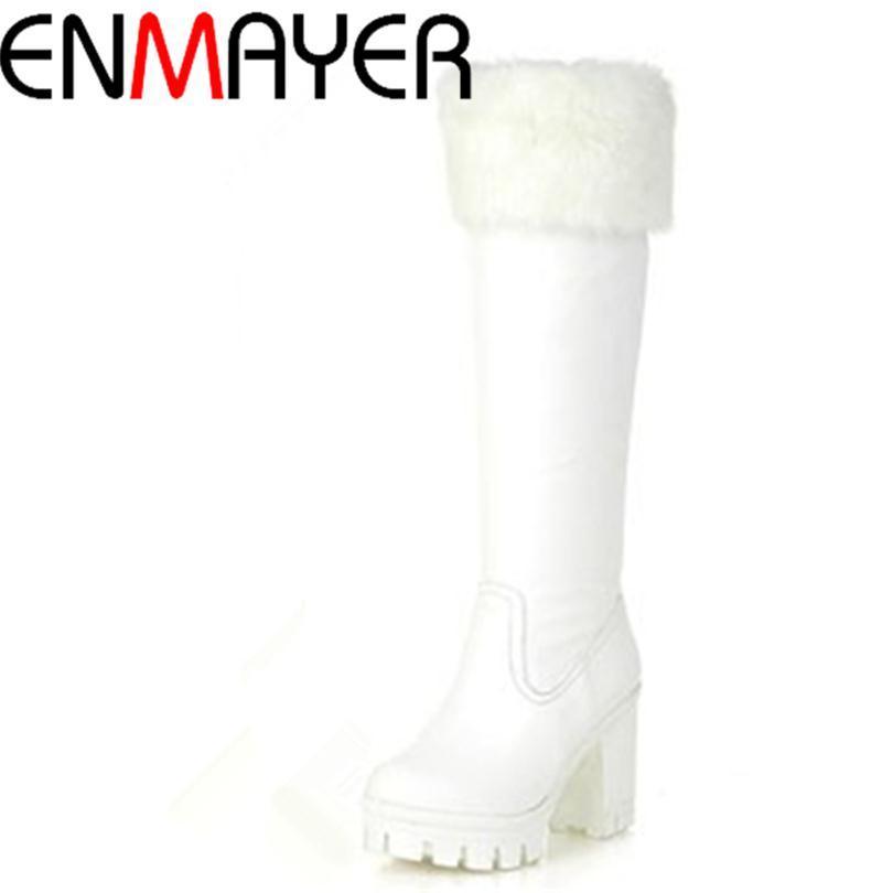 ENMAYER Mid-Calf Slip-On Snow boots for women Round Toe Warm Fur Winter Shoes Round toe Platform Winter Boots Black, white<br><br>Aliexpress