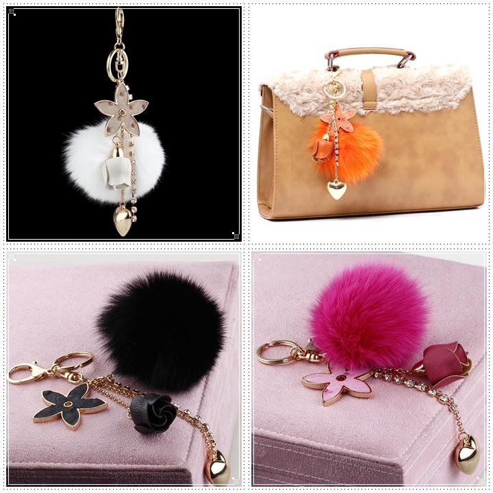 4 Colors 2015 New Year Gift High Quality Fur Car Keychain Big Genuine Fox Mink Fur Ball Bag Charm Fur Accessories Car Keyring(China (Mainland))