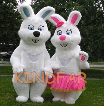 Lovely Rabbit Hare Couple Inflatable Mascot Costume Bugs Bunny Fancy Dress Cartoon Character Outfit Suit Free Shipping