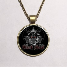 Black Pentagram Baphomet Logo Pendant Necklace Vintage Chain Choker Statement Ethnic Necklace Jewelry