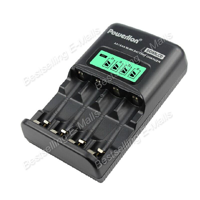 Powerlion LCD Charger 4 slots AA AAA Ni-Mh Rechargeable Battery Fast Quick charger Smart LCD Display Rapid Charger Folding plug(China (Mainland))