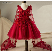 207 Baby Girl Clothes Weddings Red First Holy Lace Embroidery Flower Communion Dress Little Girl Children Bridesmaid WF-119(China (Mainland))