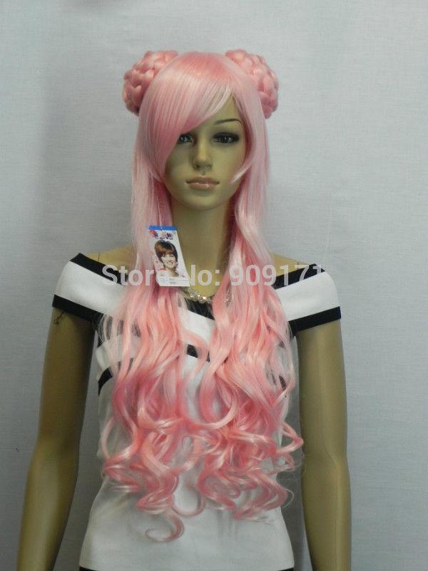 pretty light pink curly Split Type cosplay wig (B0320)<br><br>Aliexpress