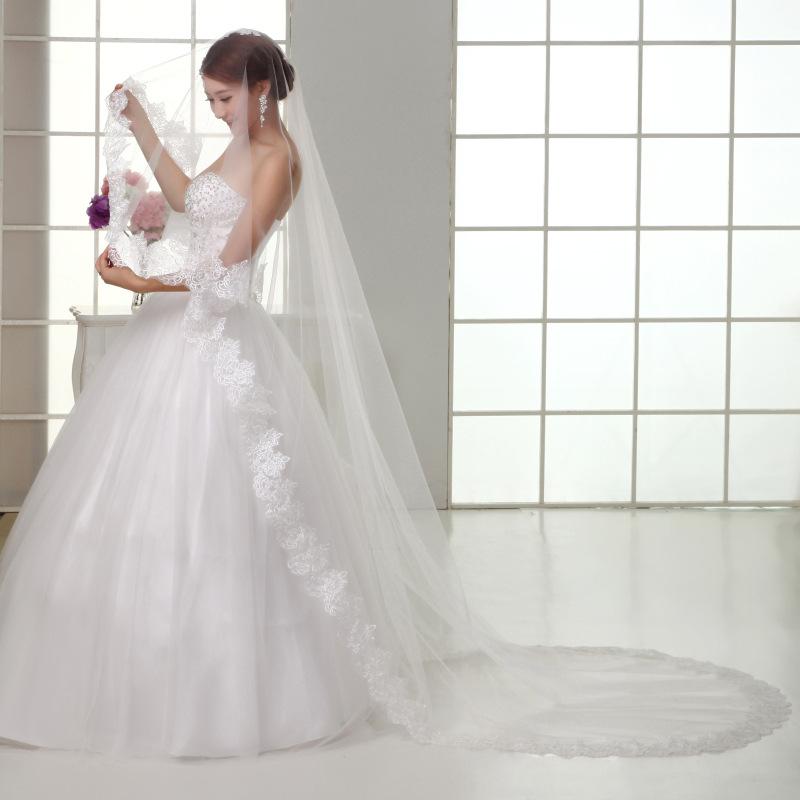Buy 2015 wedding dress accessories bridal for Long veil wedding dresses