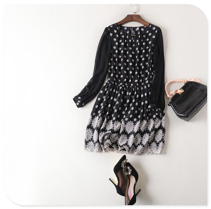 Floral Print 100% Silk Womens Dress 2016 Spring Summer High Waisted Shirt Dress Floral Elastic Waist Robe Hiver FemmeОдежда и ак�е��уары<br><br><br>Aliexpress