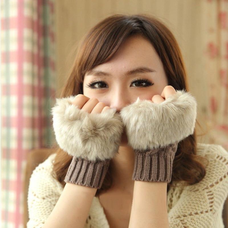 Brand Winter women's Gloves Warm Imitation Rabbit Faux Fur Women Gloves Knit Waist Fingerless Gloves Half Finger Gloves S6037(China (Mainland))