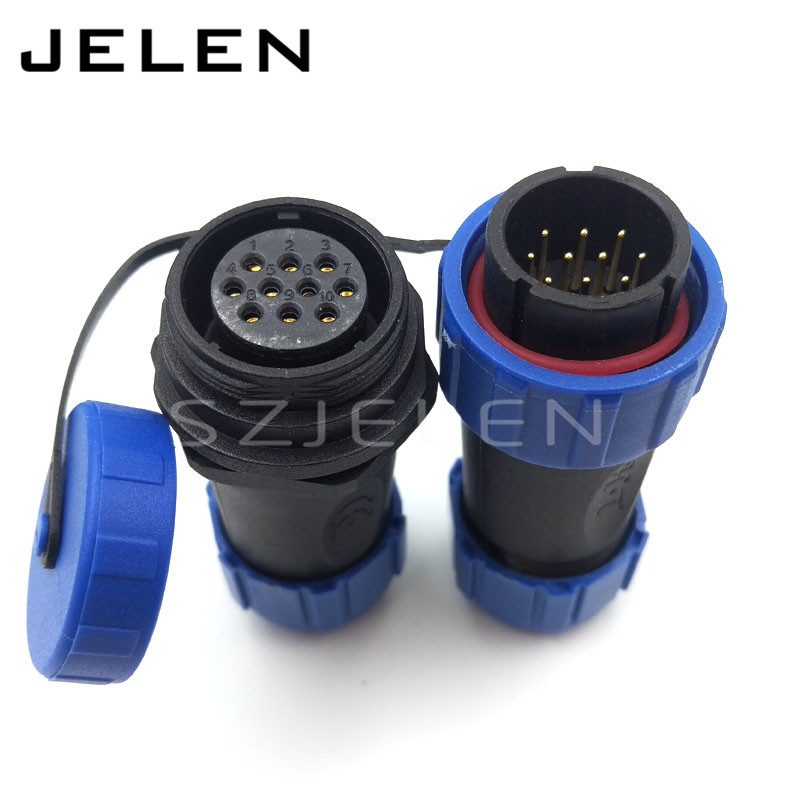 SP2110, 10 pin Cable connector, Waterproof connector plug and socket, led 10 pin power wire connectors IP68(China (Mainland))