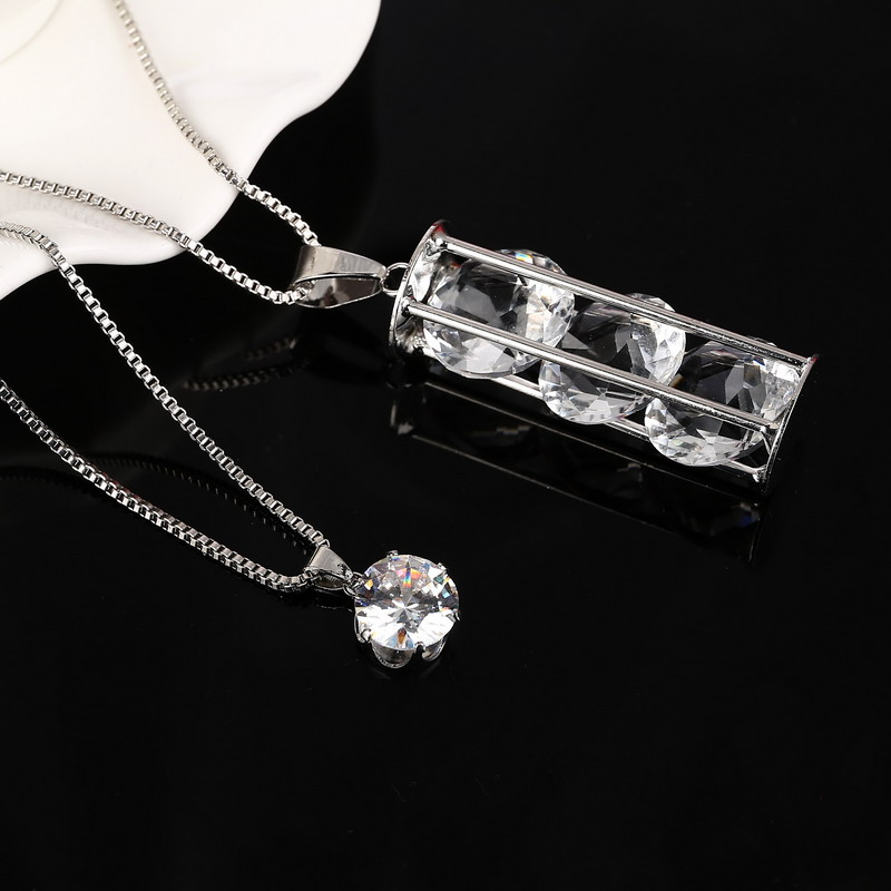 Delicate Necklace European Style Full Crystal Rhinestone Pendant Necklace Silver Plated Long Chain Necklace Sweater(China (Mainland))