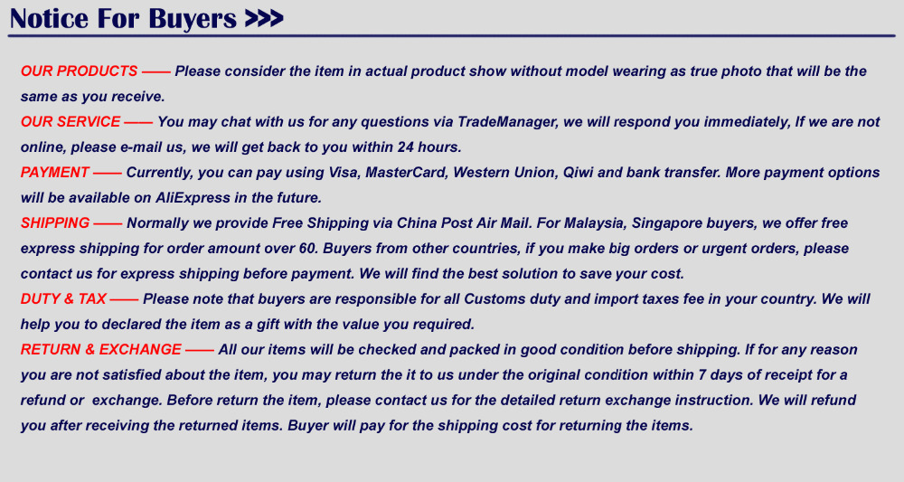 notice for buyers