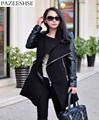 2016 New Fashion Coat Zipper Women Basic Coats Patchwork Jacket Turn down Slim Woolen Female Coat