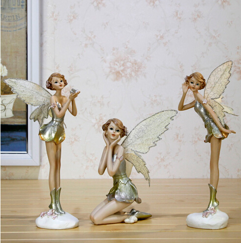 New beauty Flower Fairy FIGURINE sculpture angel ornaments Resin Crafts Home Decorations free shipping(China (Mainland))