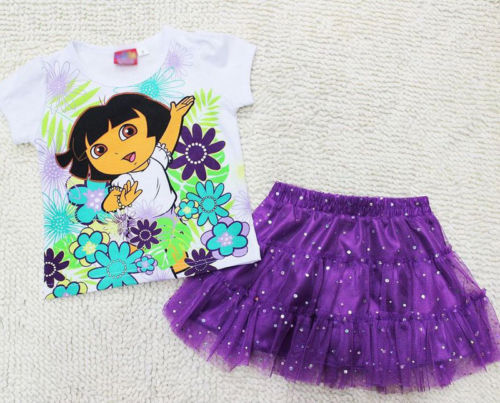 Summer The Explorer Dora Baby Girls Party Skirt Suits Fresh Lovely Cartoon White Shirt +Pink Puffy Beads Skirt(China (Mainland))