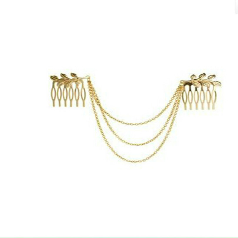 2016 Women Punk Hair Cuff Pin Clip 2 Combs Tassels Chains Head Band Gold Plated Fashion Party Wedding Accessories Hair Jewelry(China (Mainland))