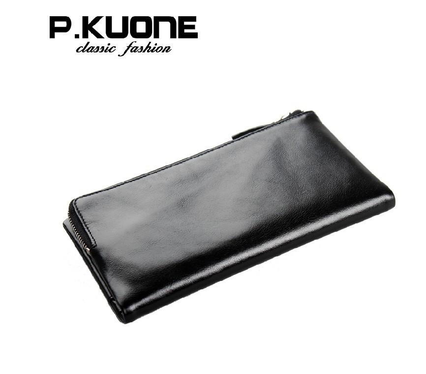 P kuone длинная дизайн 100% воловья кожа натуральная кожа мужчины бумажник портмоне для мужчины