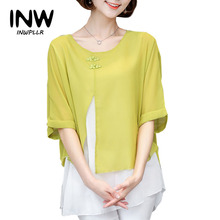 Buy 2017 Summer Blouses Women Elegant Shirts Batwing Short Sleeve Fake Two Pieces Chiffon Blouse Casual Lady Tops Plus Size Blusas for $11.80 in AliExpress store