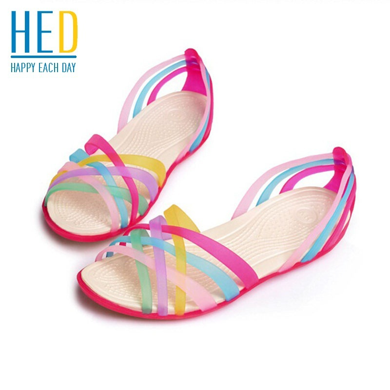 2015 Summer Hot Promotion Ribbons Color Women Flat Sandals Beach Jelly Sandals Shoes Rainbow Garden Sandals Fashion Flats 36-40(China (Mainland))