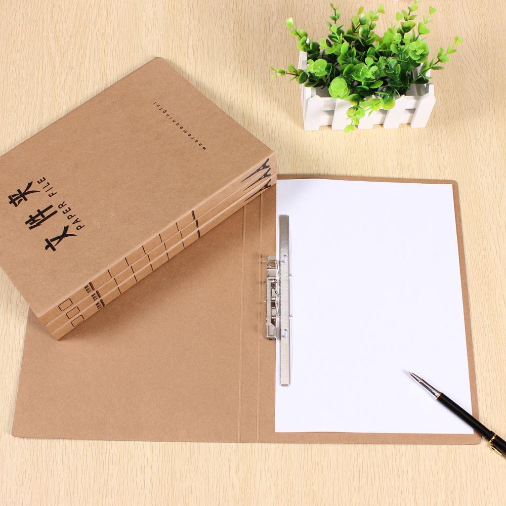 5pcs/lot 235*315*20mm A4 Single Long Clip Kraft Paper File Folder A4 Single Strong Spring Office Folder,(China (Mainland))