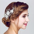 Lace Floral Wedding Accessories Bridal Hair Clip Comb Handmade Women Jewelry Crystal Pearl Headpiece Clips