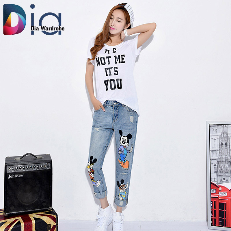 Dia Pants In Women New Fashion 3 Mickey Character Denim Jeans Capris Brand Hole Pockets Design Female Plus Size Ladies ClothesОдежда и ак�е��уары<br><br><br>Aliexpress