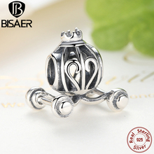 BISAER Brand New Heart 925 Sterling Silver Charms Fit Bracelet Pendant Wholesale Vintage Lucky Charms Pumpkin Car Jewelry Making(China (Mainland))