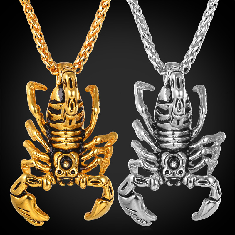 Scorpion Shape Pendant & Necklace Jewelry Gift Stainless Steel/18K Real Gold Plated Chain Animal Charms Necklace Men GP1814(China (Mainland))