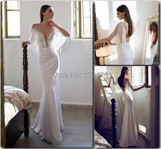 Demure White Mermaid Wedding Gowns Luxury Beading Tassel Shoulder Backless Julie Vino Chic Beach Dresses 2015 - Dress Your Way store