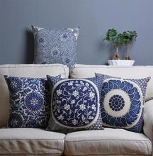 Free Shipping!!Oriental underglaze blue square throw pillow/almofadas case,plant flower Blue and white cushion cover home decore(China (Mainland))
