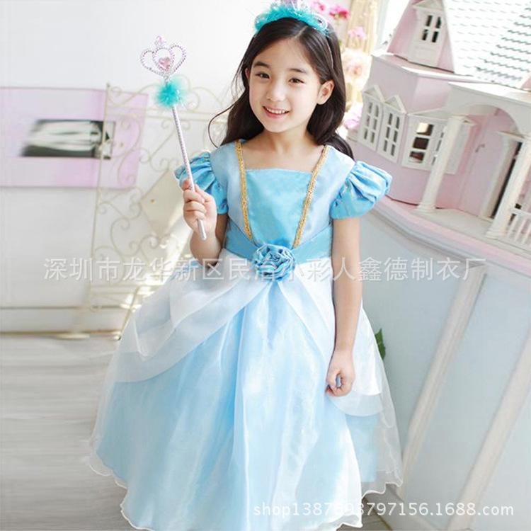 2015 Summer New Arrival Fashion Kids Dresses For Girl Disney Cinderella Princess Party Blue Dresses Vestidos Infantis Ty346(China (Mainland))