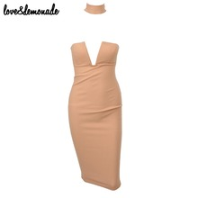 Buy Love&Lemonade Sexy Nude V-Neck Halter Party Dress TB 9393 for $32.99 in AliExpress store