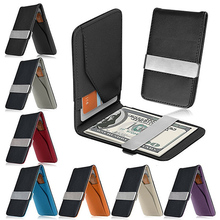 New Arrivel Men's Fashion Faux Leather Money Clip Slim Wallet ID Credit(China (Mainland))