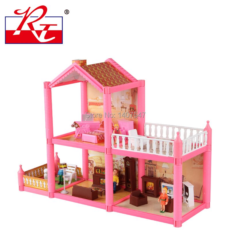 New Pink Diy Plastic Miniatura Doll House Furniture Handmade 3d Miniature Dollhouse Toys Gits