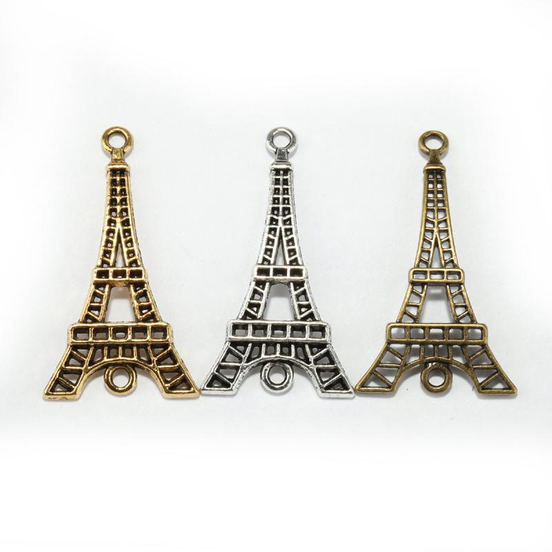 15pcs Antique Silver Golden Bronze Zinc Alloy Eiffel Tower Charms Connectors