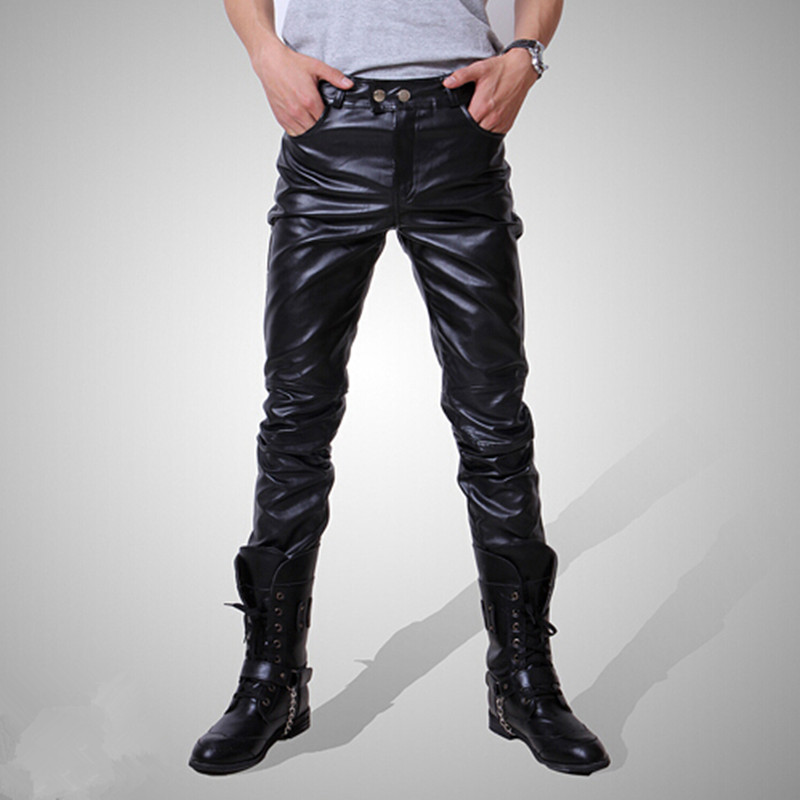 HOT 2016 Men Male Slim Fit Pants Good Quality Faux Leather Motorcycle Casual Long Trousers 3 Colors Size M~XXXL(China (Mainland))