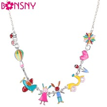 Buy Bonsny Maxi Alloy Rabbit PLANE Necklace Chain Enamel Jewelry Colorful Pendant 2017 New Fashion Jewelry Women Statement for $5.88 in AliExpress store