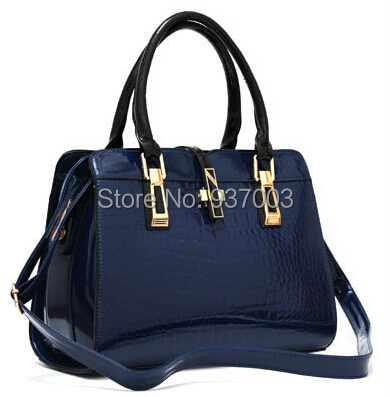 High Quality Women's Genuine leather handbags Crocodile Casual Tote Shoulder Bags Patent leather Messenger bags 04