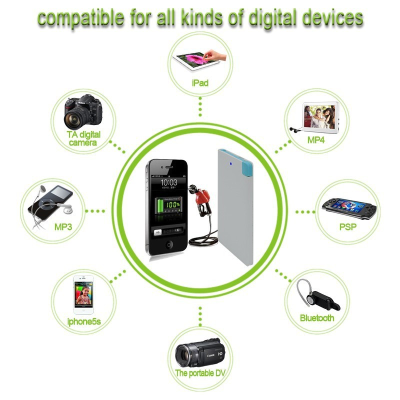Ultra Slim Power Bank 2600mAh Mini Powerbank External Mobile Phones Battery Charger bateria externa For iPhone 5 5s 6 6s Plus