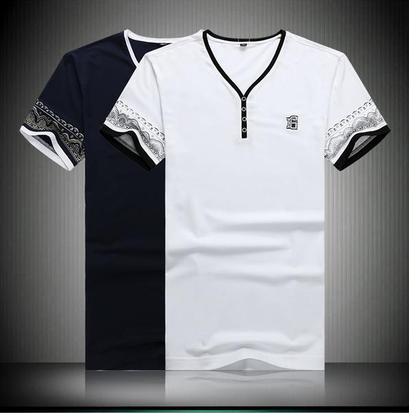 2015 Summer fashion business gentleman short-sleeved t shirt Personalized embroidered standard simple lace V-neck t shirt menÎäåæäà è àêñåññóàðû<br><br>