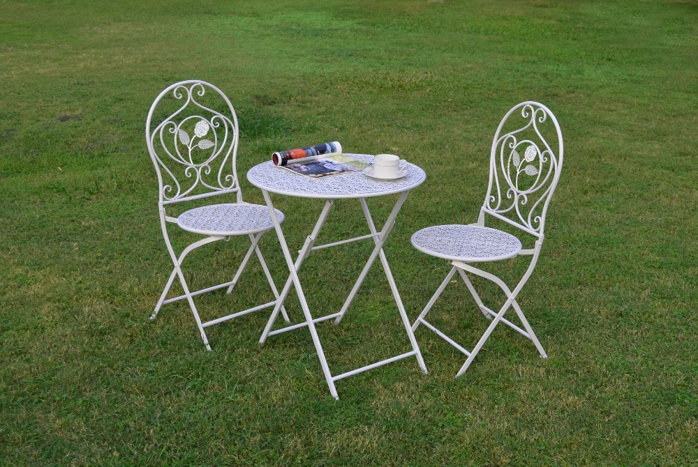 Wire/Metal Bistro Set/3, Patio Furniture, Garden & Outdoor Furniture Set, Foldable White Metal Chair & Table Set(China (Mainland))