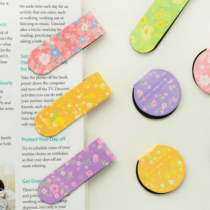 2 pcs/pack Fresh Style Floral Magnet Bookmark Paper Clip School Office Supply Escolar Papelaria Gift Stationery(China (Mainland))