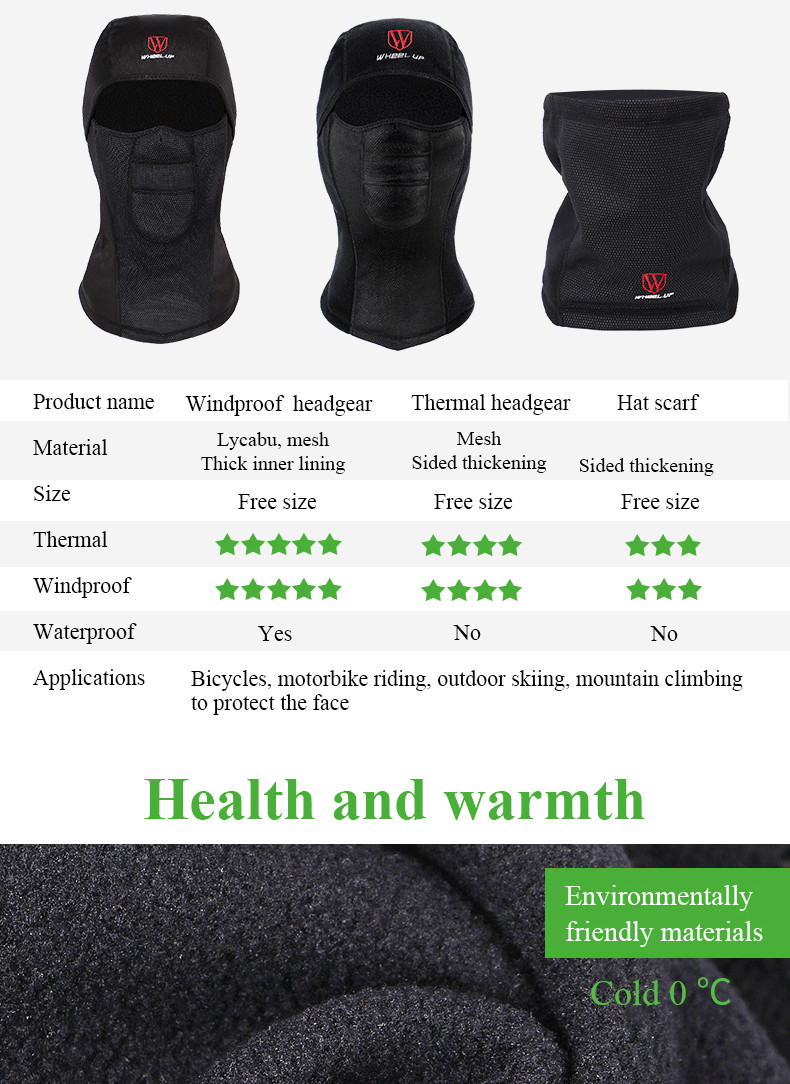 WHEEL UP Winter Cycling Cap Outdoor Sports Scarf Fleece Face Mask Bicycle Bisiklet Maske Kar Maskesi Mascara Ciclismo One Size
