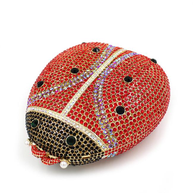 Summer 2016 High Quality Women Ladybird Shape Luxury Crystal Evening Clutch Handbag Sisters Party Bag L1022(China (Mainland))