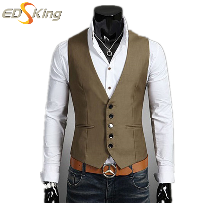 New Fashion 2016 Korean Slim Fit Vests Men Business V-Neck Navy Single Breasted Waistcoat Gilet Costume Homme Coffee Suit Vest(China (Mainland))