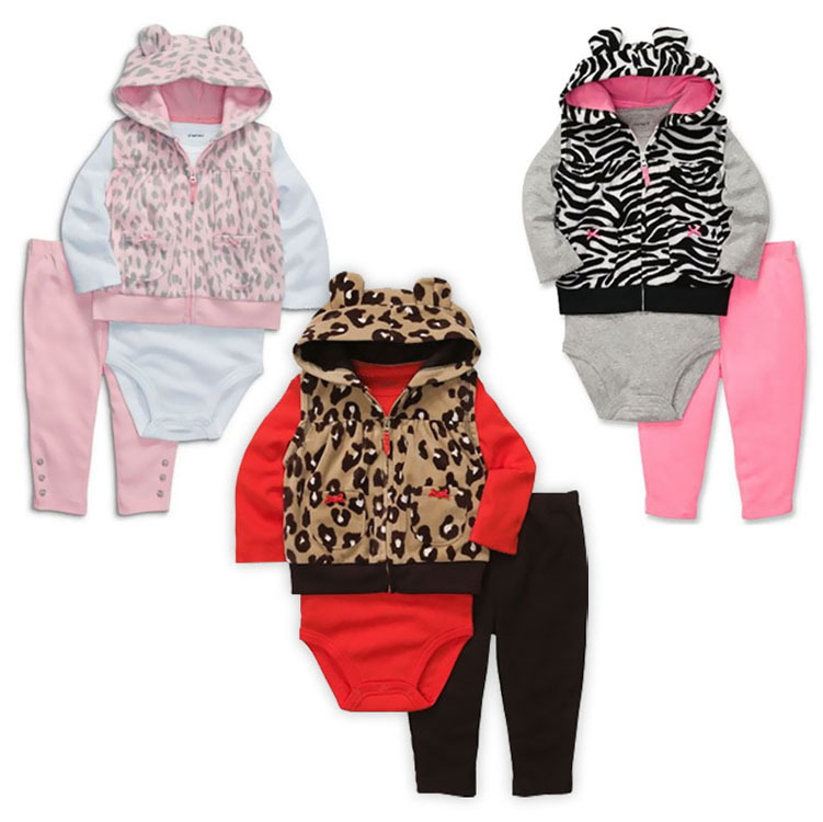 5set/lot New fashion Childrens casual clothing sets baby girls Leopard jacket + long sleeve rompers + pants 3pcs suit kids wear<br><br>Aliexpress