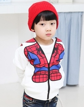 Boys Cartoon Jacket Children Spiderman Hoodie Baby Kids Cute Outerwear Clothing Coat Halloween Christmas Costume Free Shipping(China (Mainland))