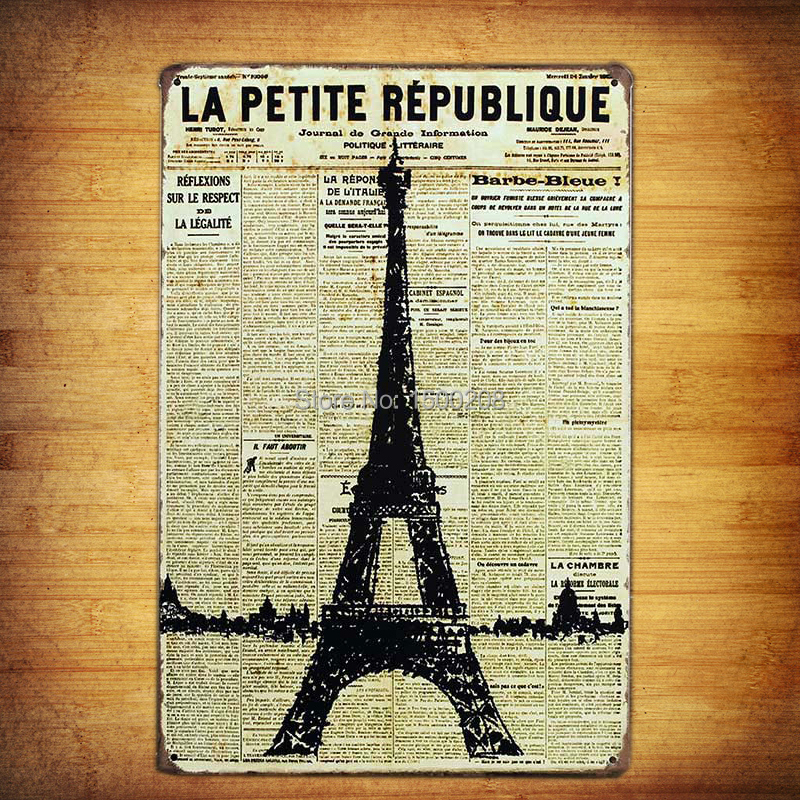 Buy eiffel tower newspaper vintage retro for Decor mural metal