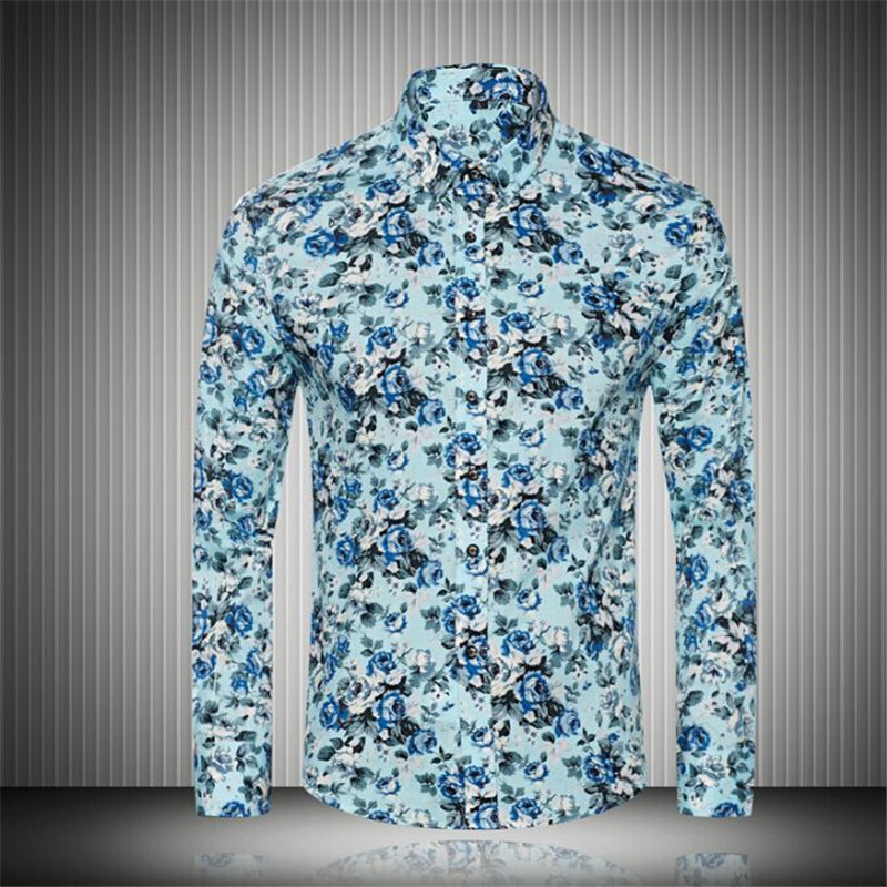Men Floral Dress Shirt Spring Autumn Slim Fit High Quality Cotton Blouse Brand Design Outdoor Casual Fashion Social Shirt F1849(China (Mainland))