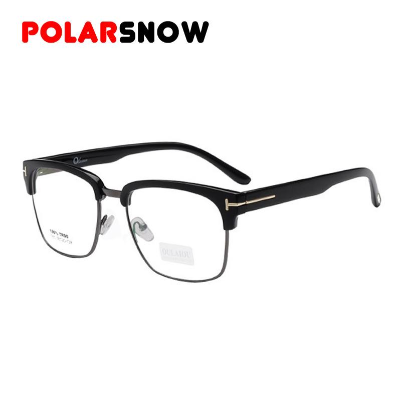 New 2016 Brand TR90+Metal Half-Rim Frame Glasses Retro Men Reading Super Light Glass Oculos De Grau TAG Myopia Eyeglasses(China (Mainland))